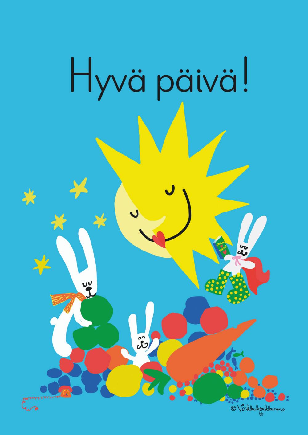 Hyvä päivä -kortin etupuolella pupuja vihanneskasassa auringon ja kuun alla
