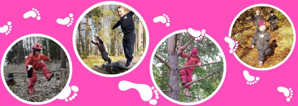 Kuvia varhaiskasvatusikäisistä lapsista liikkumassa metsässä, juosten, kiipeillen puussa, hypäten kiveltä ja hypäten keppihevosen kanssa oksasta tehtyä estettä