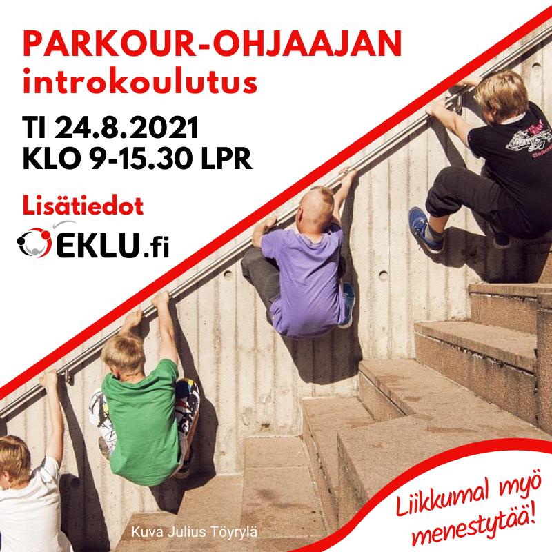 Parkour-ohjaajakoulutuksen mainos