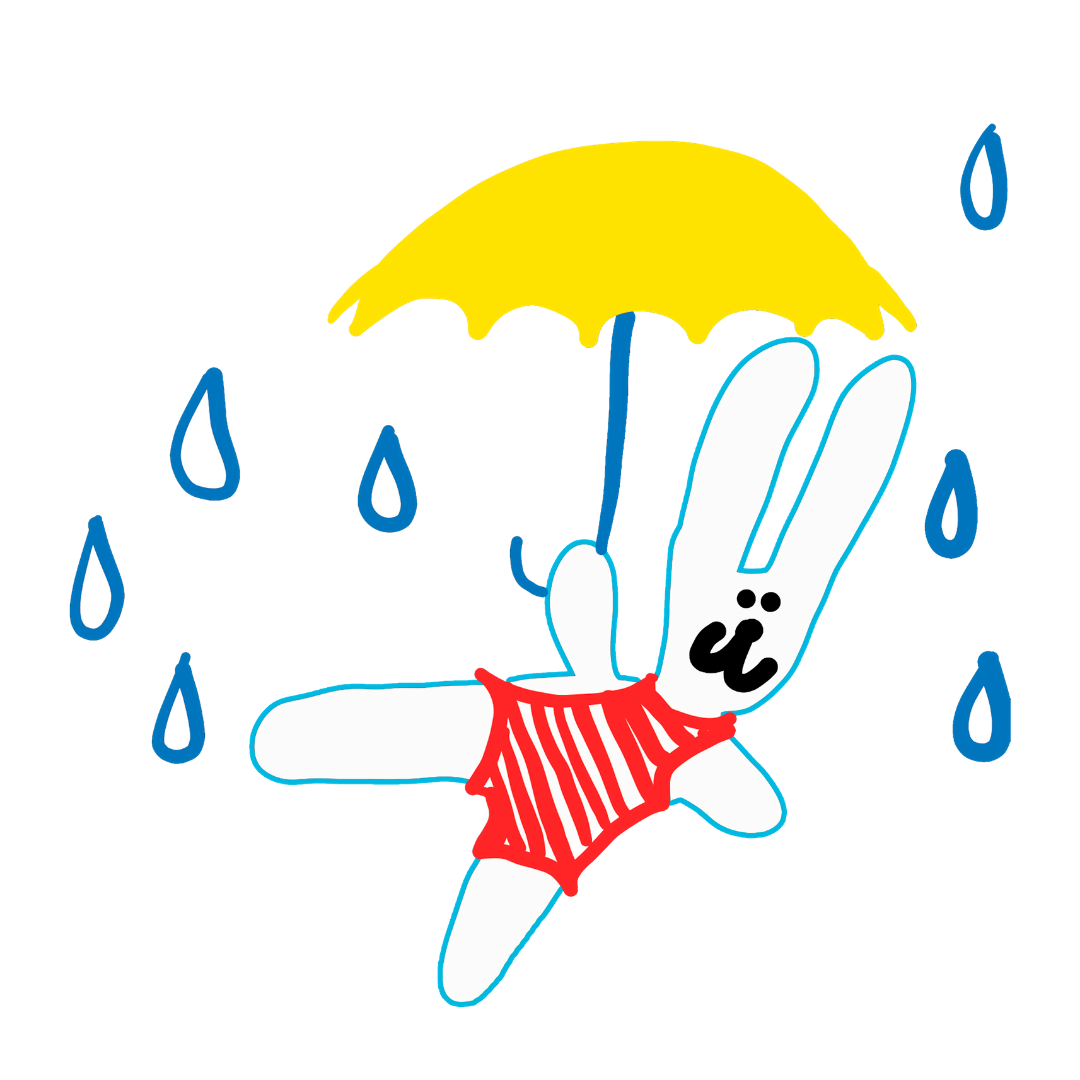 Pupu sateessa sateenvarjon alla