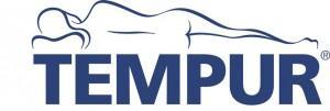 Tempurin logo, jossa henkilö makaa kyljellään alastomana.