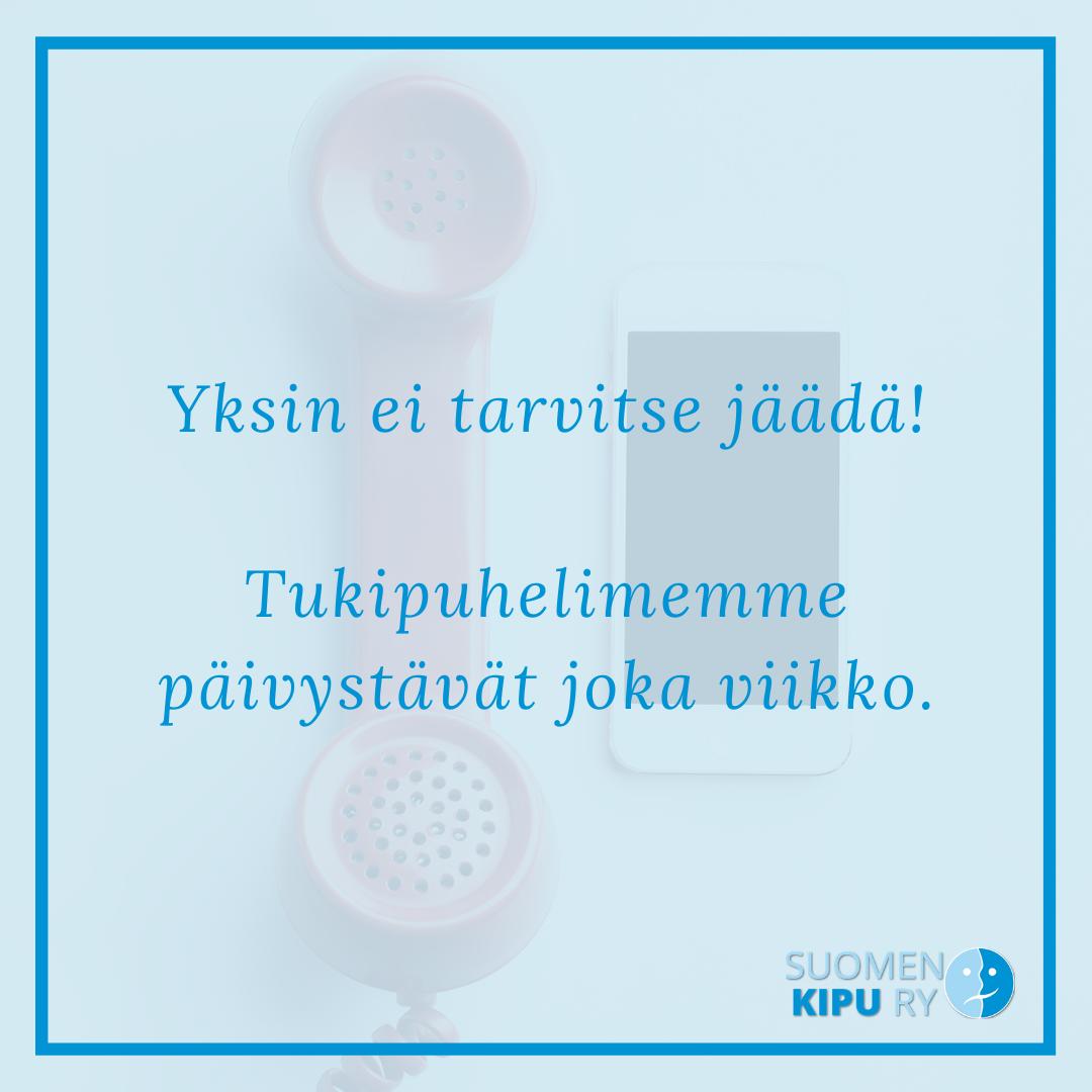 Puhelimen luuri ja kännykkä. Teksti: Yksin ei tarvitse jäädä! Tukipuhelimemme päivystävät joka viikko!
