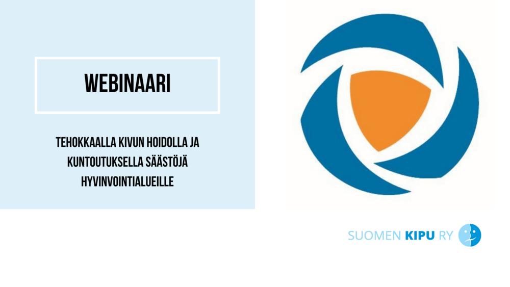 """SIP Finlandin logo, jonka vieressä teksti """"Tehokkaalla kivun hoidolla ja kuntoutuksella säästöjä hyvinvointialueille""""."""