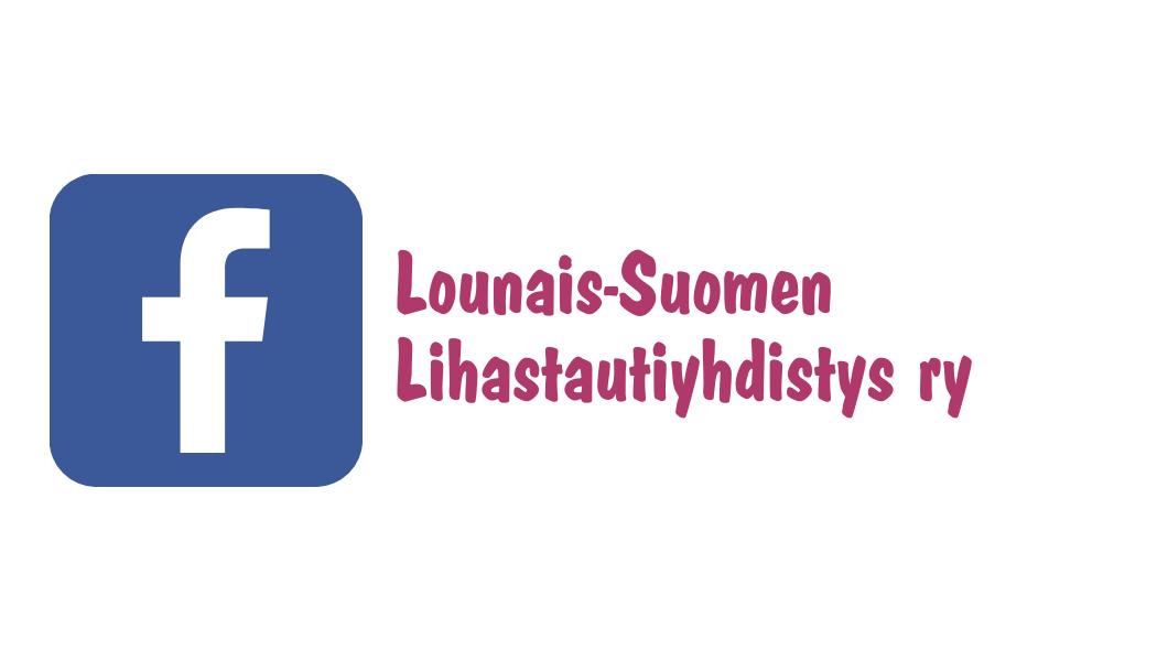 Facebookin logo ja Lounais-Suomen Lihastautiyhdistys. Kuvan linkki avaa Lounais-Suomen Lihastautiyhdistyksen Facebook-sivun.
