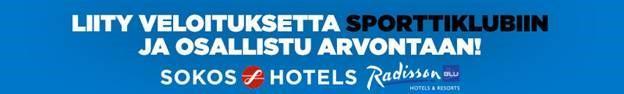 Liity veloituksetta sporttiklubiin ja osallistu arvontaan! Sokos Hotels, Radisson Blu. Kuva johtaa Sokos Hoteal -verkkosivuille.