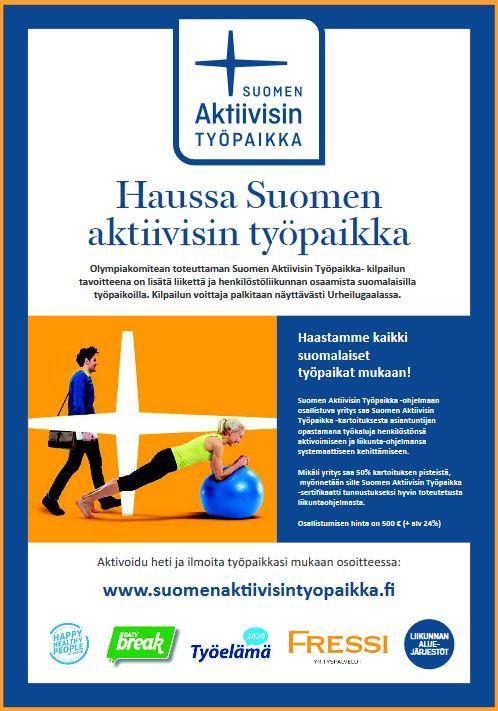 Suomen aktiivisin työpaikka -pamfletti.
