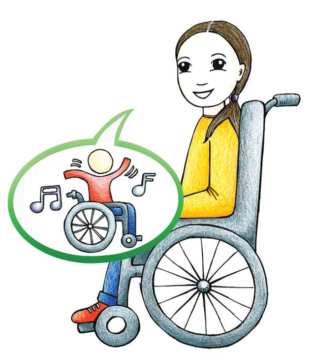 Kuvassa pyörätuolissa istuva tyttö, puhekuplassa pyörätuolissa tanssiva hahmo. Piirrostyttö perustuu oikeaan tyttöön, joka on kertonut että toivoisi musiikkia perhekeskuksiin.