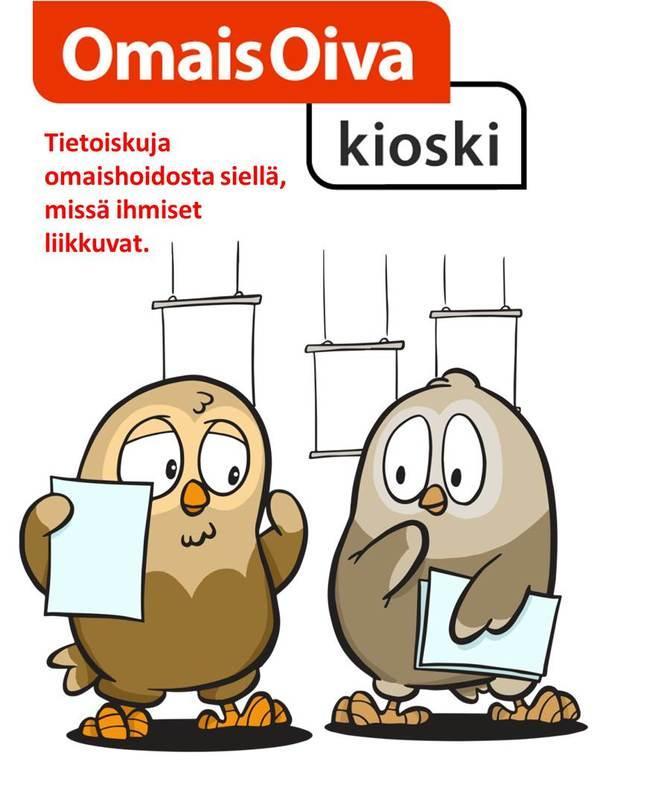 Kuva OmaisOiva-kioskista, jossa kaksi pöllöä ja seliteteksti