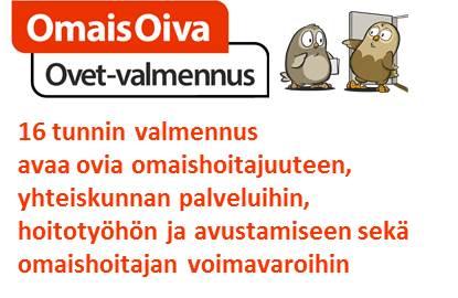 Kuva Ovet-valmennuksesta, jossa seliteteksti ja kaksi pöllöä yhdessä
