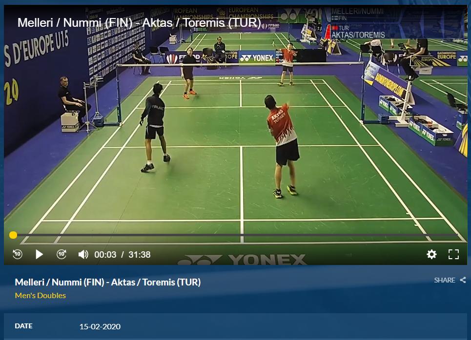Akselin ja Alvarin ottelu turkkilaisia vastaan on katsottavissa Badminton Federationin sivuilta.