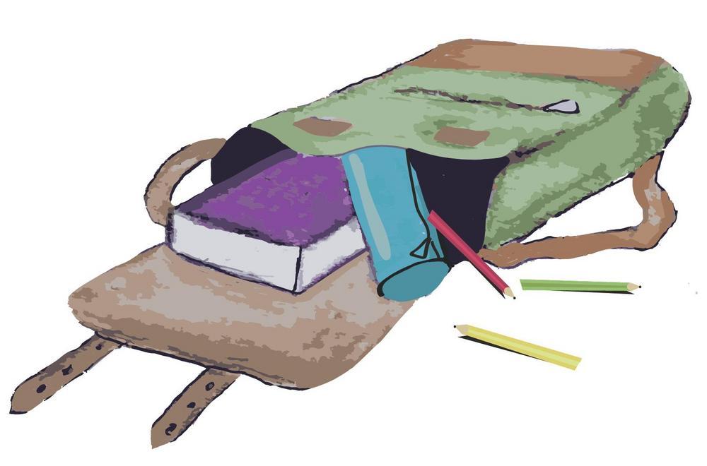 Kuvassa reppu ja sen sisältöä: penaali, kyniä, kirja