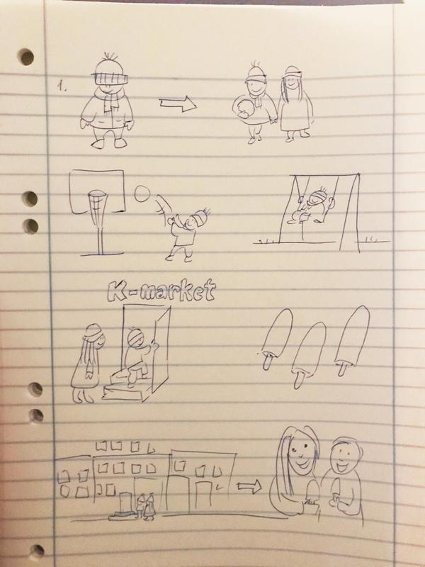Yksinkertaisesti ruutupaperille piirretty kahdeksan kuvaa jotka kertovat tulevasta toiminnasta. Ensimmäisessä kuvassa talvivaatteisiin puettu lapsi. Toisessa kuvassa lapsella pallo kainalossa, kävelee käsi kädessä tytön kanssa. Kolmannessa kuvassa lapsi heittää koripalloa. Neljännessä kuvassa lapsi keinuu. Viidennessä kuvassa lapsi ja tyttö kävelevät portaita K-marketin ovelle. Kuudennessa kuvassa kolme jäätelöpuikkoa. Seitsemännessä kuvassa kerrostaloja, lapsi ja tyttö menossa ovelle. Kahdeksannessa kuvassa lapsi ja tyttö syövät jäätelöpuikkoja.