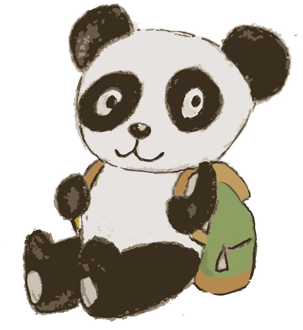 Kuvassa panda-karhu, jolla on selässään reppu.