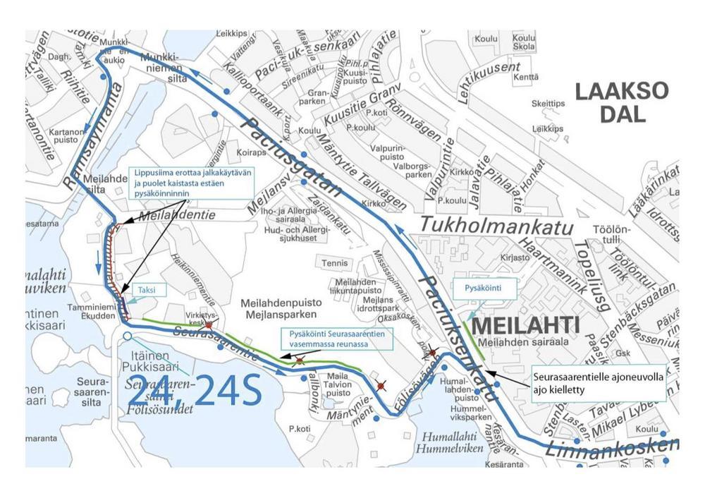 Kuva Meilahden alueen liikennejärjestelyistä Joulupolku-tapahtuman aikaan 15.12.2019.