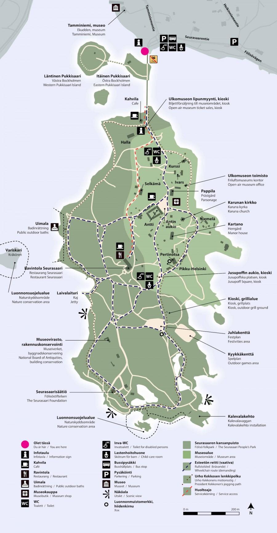 Karttakuva Seurasaaresta, kuvassa näkyvät museotalojen ja keskeisten paikkojen sijannit.