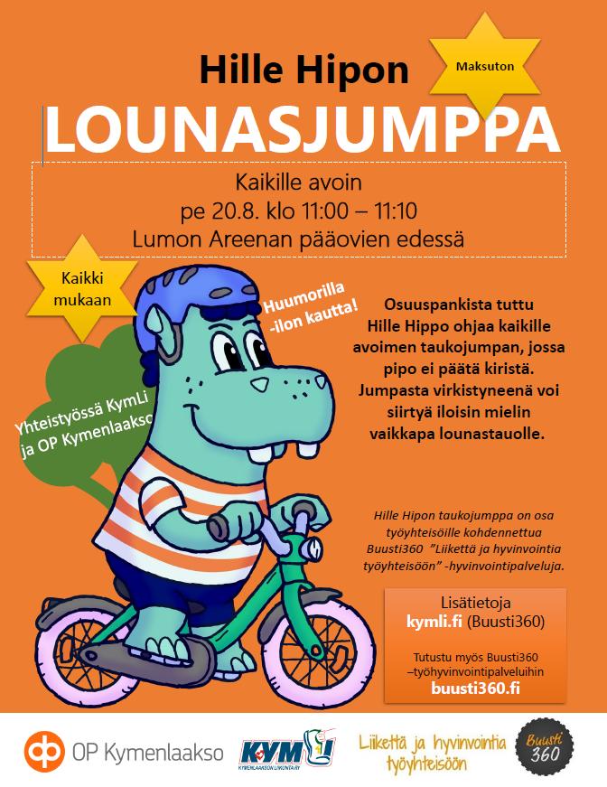 OP Kymenlaakson Hille Hippo pyöräilee kuvassa ja kutsuu kaikki maksuttomaan lounastaukojumppaan perjantaina 20.10.2021 kello 11:00-11:10 Kouvolan Lumon Areenan pääovien edessä.