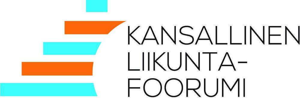 Kuvassa kansallisen liikuntafoorumin logo. Logossa vasemmalla sivussa viisi poikittaista sinistä ja ruskeaa kaarevaa palkkia ja teksti kansallinen liikuntafoorumi