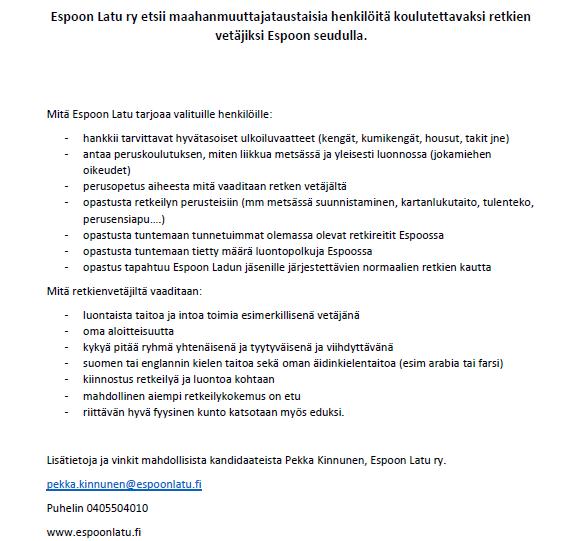 Espoon Latu_ kuva vapaaehtoisten retekivetäjien etsintäilmoituksesta. Ilmoitus on suunnattu maahanmuuttajataustaisille luonnossa liikkumisesta kiinnostuneille..
