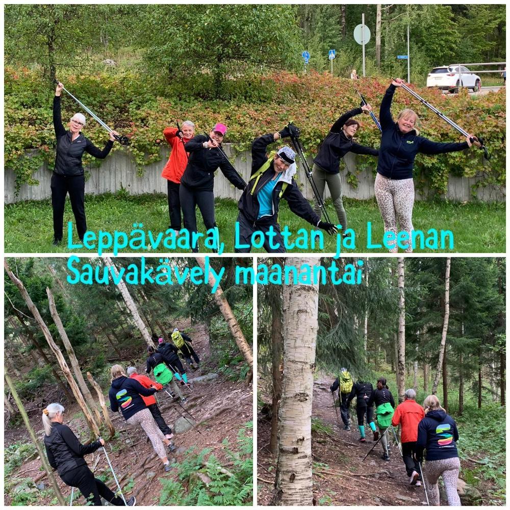 Sauvakävelijät jumppaavat ja rientävät metsäpolulla