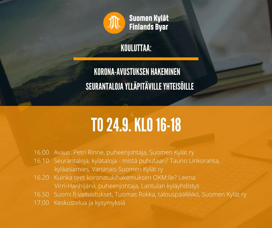 Suomen Kylät ry:n 24.9.2020 koulutustapahtuman ohjelma.
