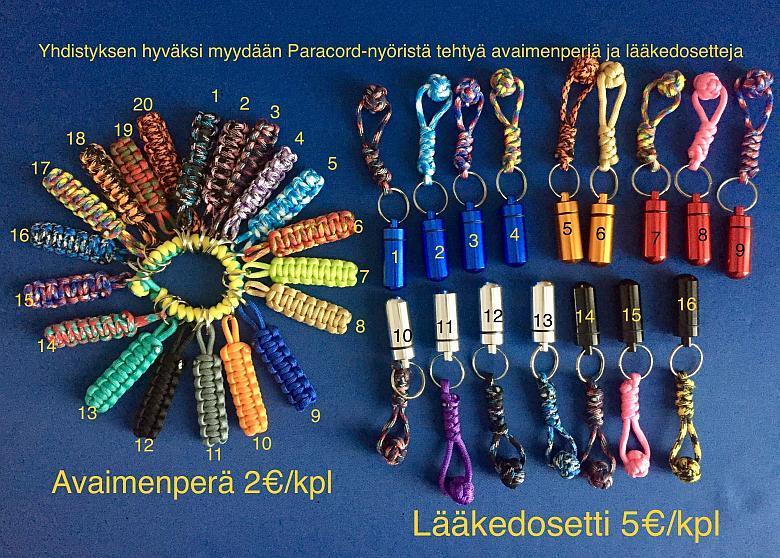 Avaimenperien (20 erilaista) värimallit ja hinta 2€/kappale. Dosettien värimallit (16 erilaista) ja hinta 5€/kappale.