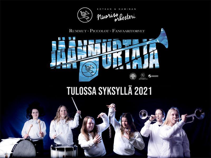 Hankkeen mainosjuliste, jossa on logon lisäksi nuoria soittajia instrumenttien kanssa ja teksti Tulossa Syksyllä 2021.