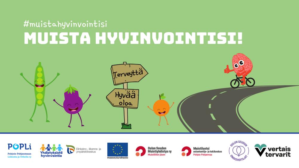 Muista hyvinvointisi -kiertueen markkinointikuva, jossa järjestäjätahojen logot sekä kuvituksena piirros, jossa aivot pyöräilevät tiellä ja joukko iloisia vihanneksia kannustaa vieressä.