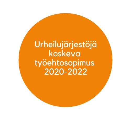 Tämä on oranssi ympyräpainike, minkä kautta pääset lukemaan urheilujärjestöjä koskevan työehtosopimuksen vuosille 2020-2022.