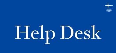 Tämä kuva on painike, jonka avulla pääsee Olympiakomitean Help Deskiin: Apua ja tukea seuratoiminnan kysymyksiin. Kuvassa lukee Help Desk sinisellä pohjalla ja kuvassa on Olympiakomitean logo.