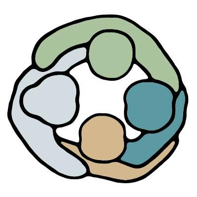 Yhdistyksen virallinen logo, jossa neljä piirroshahmoa haliringissä.
