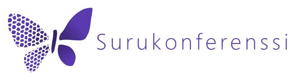 Surukonferenssin logo, vasemmassa laidassa violetti perhonen
