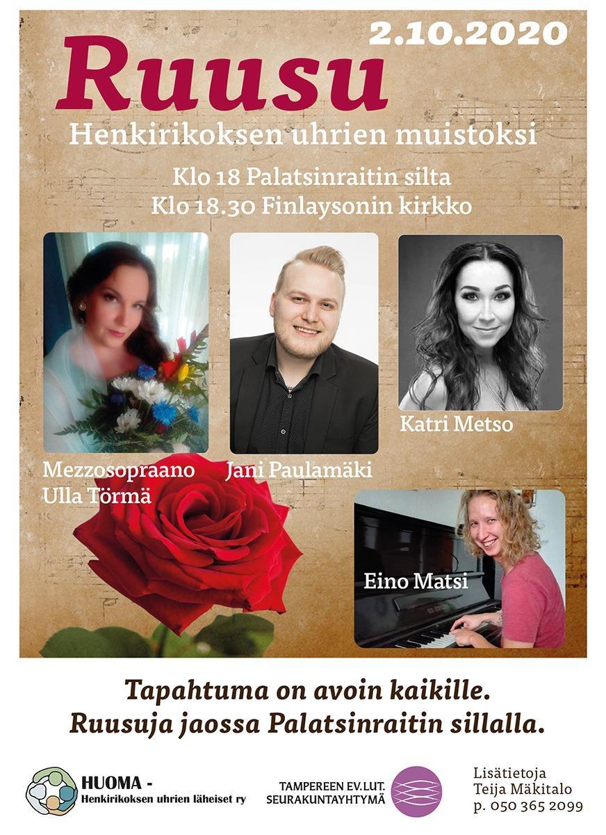Ruusu henkirikoksen uhrien muistoksi-tapahtuman juliste, jossa on esiintyjien kuvia sekä suuri punainen ruusu.