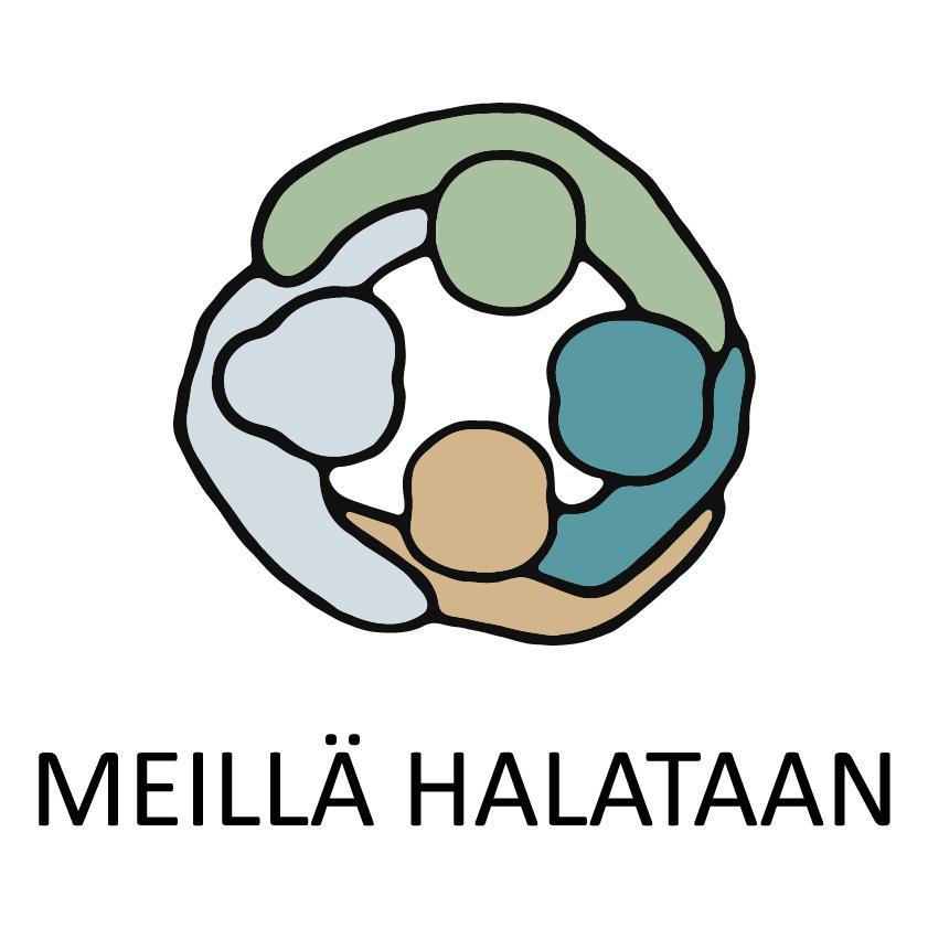 Yhdistyksen virallinen logo, jossa neljä piirroshahmoa haliringissä, hahmojen alapuolella lukee Meillä halataan.