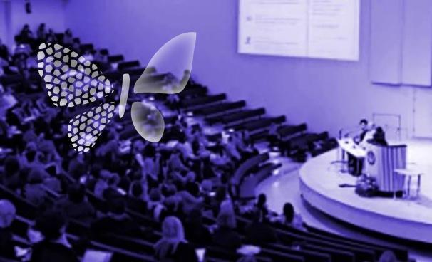 Suuri auditorio, jossa on luento menossa. Vasemmassa nurkassa surukonferenssin tunnusperhonen.