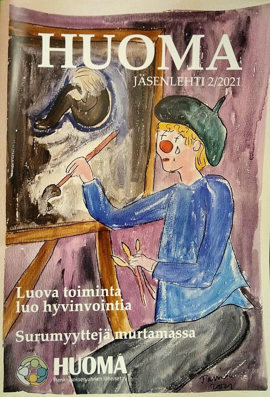 Huoma-lehden kansikuva: itkevä klovni maalaa tummasävyistä taulua