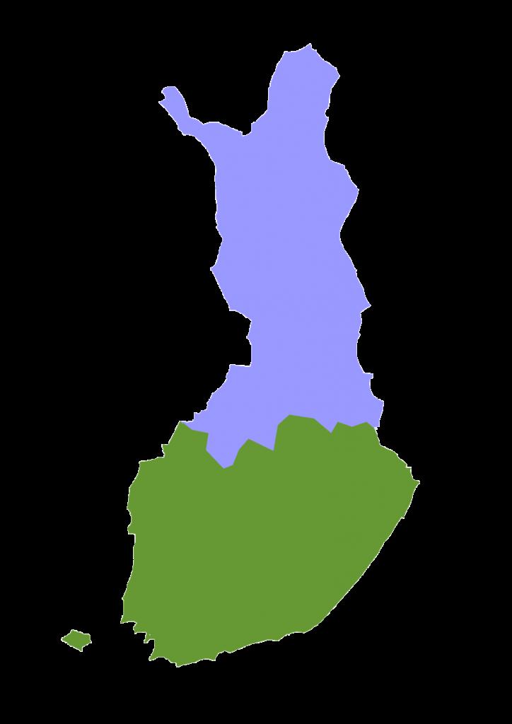 Yhdistysten toiminta-alueet kartalla.