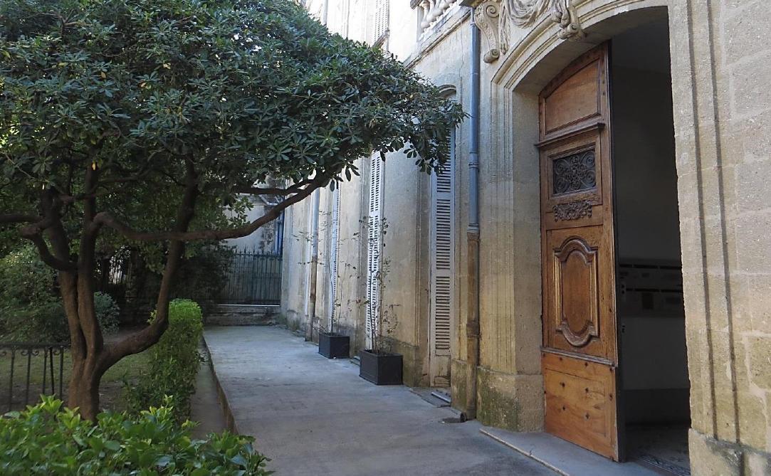 Kuvassa on puu ja vanhan rakennukset seinä sekä avonainen ovi.