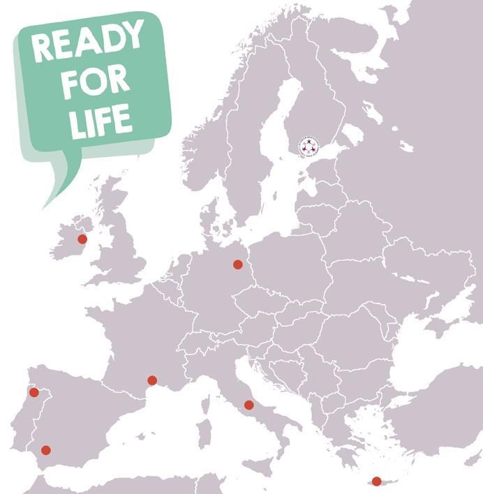 Euroopan kartta, johon on merkitty Ready for Life -ohjelman kohdekaupungit: Sevilla Espanjassa, Celano ja Avezzano Italiassa, Dublin Irlannissa, Rethymno Kreikassa, Braga Portugalissa, Montpellier Ranskassa ja Berliini Saksassa. Kartassa lukee Ready for Life.