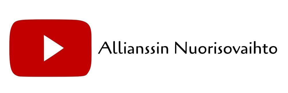 YouTube logo and user name Allianssin Nuorisovaihto