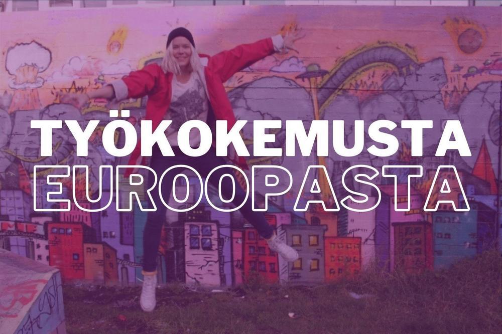 """Kuvassa punatakkinen nuori nainen hyppää kirjavan seinän edessä. Kuvan päällä lukee """"työkokemusta Euroopasta""""."""