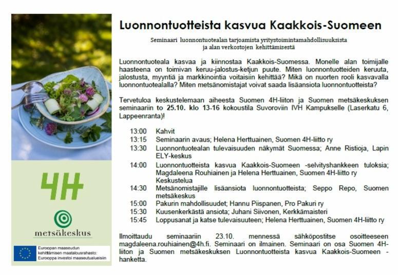 Seminaari: Luonnontuotteista kasvua kaakkois-suomeen (2018).