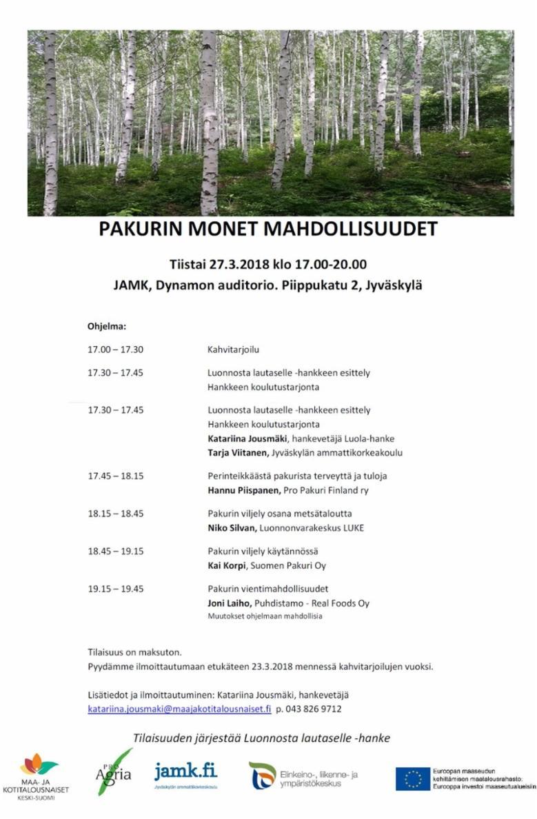 Seminaari: Pakurin monet mahdollisuudet (2018).